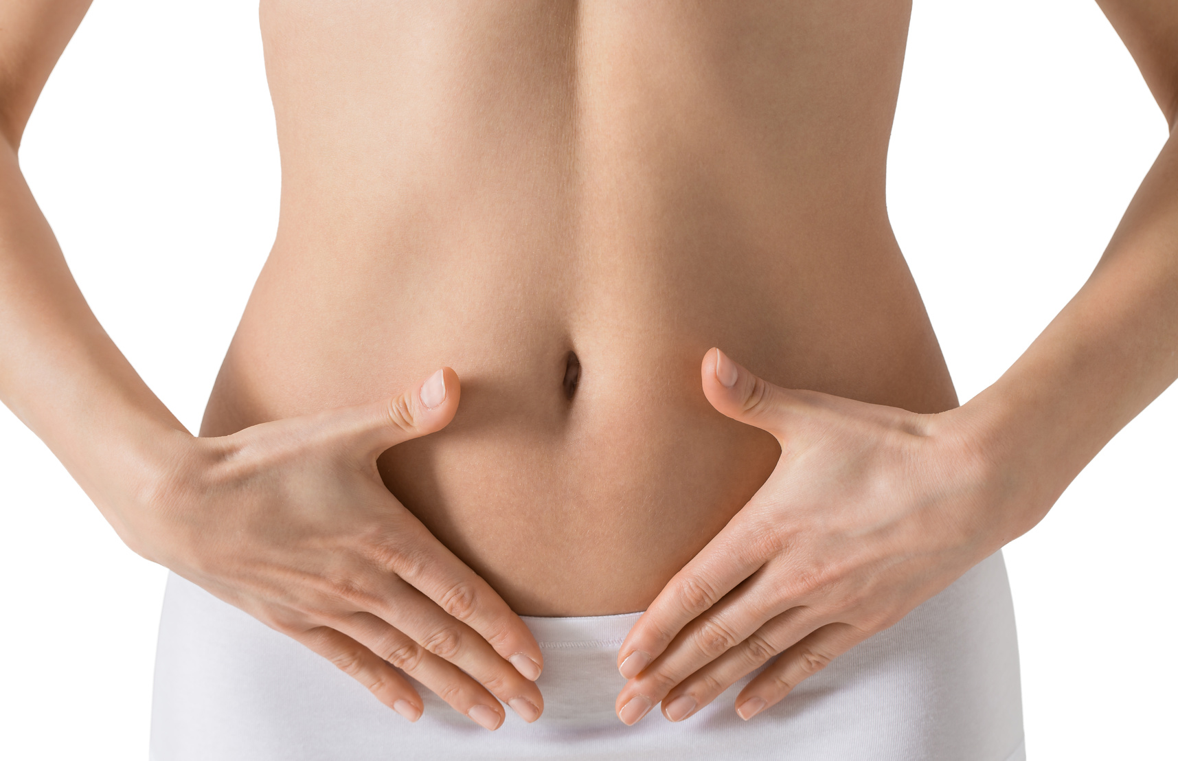 Woman holding hands on a belly. Stomach health concept. Isolated on white.